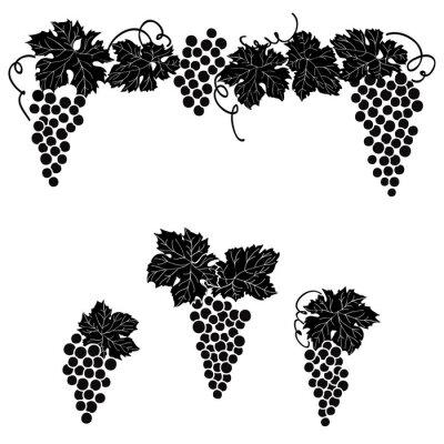 Naklejka Winogrona grawerowane projektowania ustaw winorośl ornament wystrój elementem zestawu.