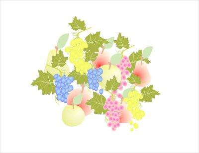 Naklejka Winogrona gruszki jabłka - owoce jesieni