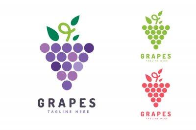 Naklejka Winogrona izolowanych logo ikony