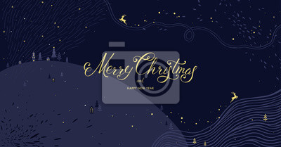 Winter Holidays banner design. Website or social media long header template for Christmas celebration with sparkles and space for text.