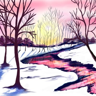 Naklejka Winter landscape with trees in white and pink colors. Pink sunset by the river. The sun shines through the trees. Christmas party. Postcard, poster