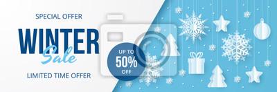 Naklejka Winter sale banner. Paper cut vector. Vector Illustration.