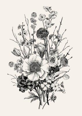 Wiosenne kwiaty i gałązka. Czarny i biały