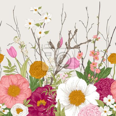 Wiosenne kwiaty i gałązka. Piwonie, Spirea, kwiat wiśni, dereń. Vintage ilustracji botanicznych.