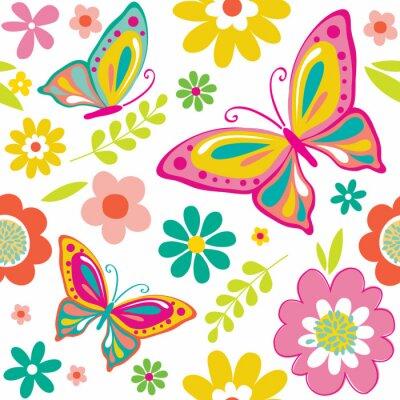 Naklejka wiosna wzór z cute motyle odpowiednich dla opakowanie na prezent lub tapety tło. EPS 10 & Hi-Res JPG wliczony
