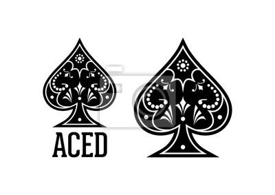 Naklejka Wiry i Classic Black Spade Ace Poker Kasyno Ilustracja Logo Sylweta