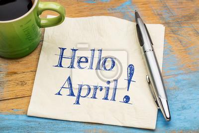 Naklejka Witam kwietnia na serwetka z kawą