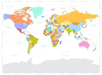 Naklejka Witam Szczegóły kolorowe Polityczna mapa świata wektor ilustracji