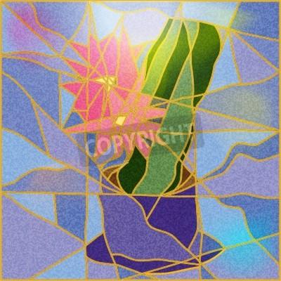 Naklejka Witraż przedstawiający kwiat ilustracji