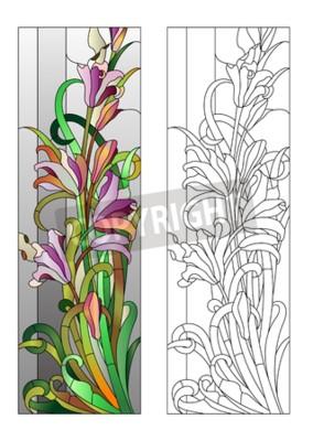 Naklejka Witraż z fioletowym wzorem kwiatowym