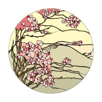 Naklejka Witraż z sakura