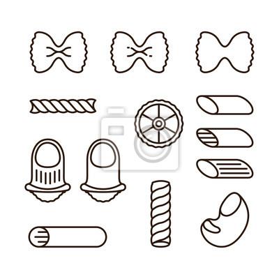 Włoskie typy makaronów Macaroni Żywność Minimalistyczny płaski kontur Obrysu Zestaw ikon Vector