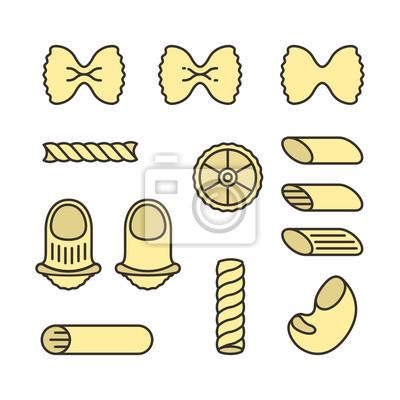 Włoskie typy makaronu Makaron żywności Minimalistyczny kolorowy płaski kontur konturowy zestaw ikon wektorowych
