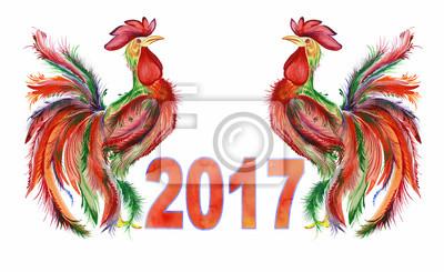 wo koguty rozmieszczonych symetrycznie i oznaczeniem 2017 na białym tle. akwarela, ręcznie. Kogut jako symbol roku. Może być stosowany do kart okolicznościowych i kalendarzy.