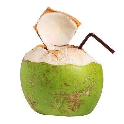 Naklejka Woda kokosowa napój owocowy wyizolowanych na białym