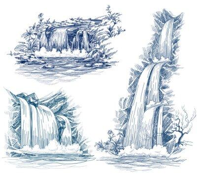 Naklejka Woda spada wektor rysunek