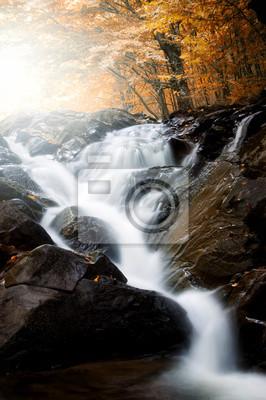 Wodospad na rzece przez las jesienią