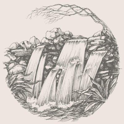 Naklejka Wodospad okrągły rysunek
