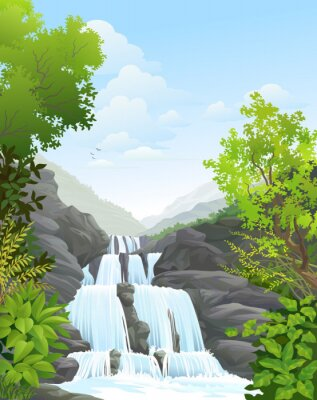 Naklejka Wodospad w tropikalnych lasów tropikalnych