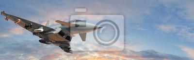 Naklejka wojskowe myśliwce - nowoczesne uzbrojone wojskowe myśliwce latają na niebie