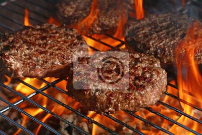 Naklejka Wołowina hamburger dla hamburgeru na grilla płomienia grillu
