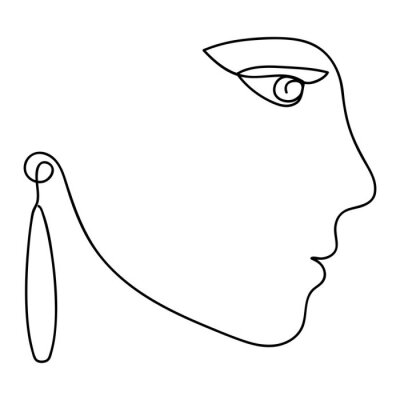 Woman abstract face profile, one line drawing. Hand drawn outline illustration. Continuous line. Portret female. Vector illustration