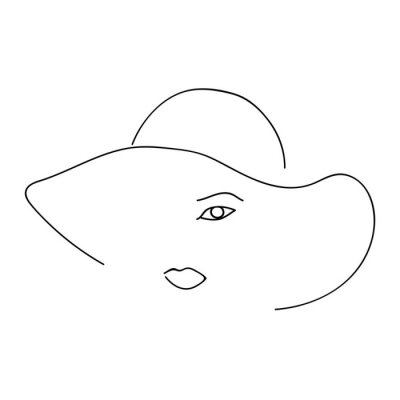 Woman abstract face with hat, one line drawing. Hand drawn outline illustration. Continuous line. Portret female. Vector illustration