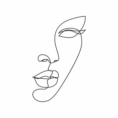 Naklejka Woman face line drawing art. Abstract minimal female face icon, logo