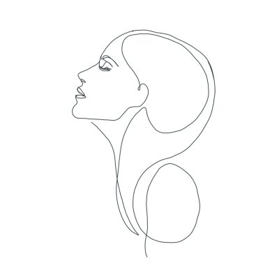 woman face with orchid flower. Continuous line drawing