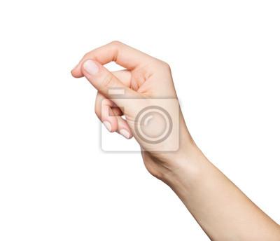 Naklejka Woman's hand holding something, isolated on white
