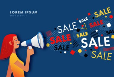 Woman shouting through a megaphone or loudspeaker. Happy young woman shouting sale. Vector illustration of sale word coming out from megaphone
