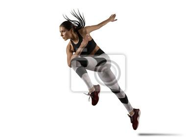 Naklejka Woman sprinter leaving starting