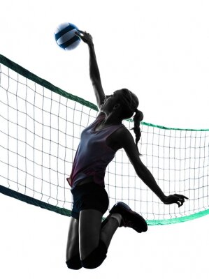 Naklejka woman volleyball players isolated silhouette