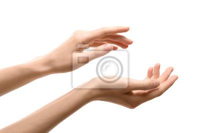 Naklejka Woman with beautiful hands on white background, closeup