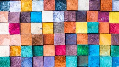 Naklejka Wood texture block stack on the wall for background, Abstract colorful wood texture.