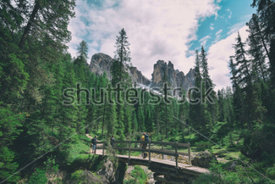 Naklejka wooden bridge and saent waterfall on italian alps, Ambrizola mountains in Dolomites
