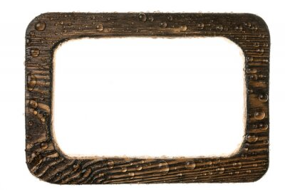 Wooden frame with dew drops. Isolated