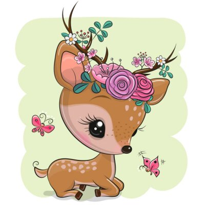 Naklejka Woodland Deer with flowers and butterflies on a green background