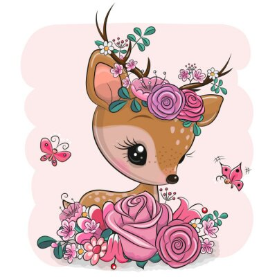 Naklejka Woodland Deer with flowers and butterflies on a pink background