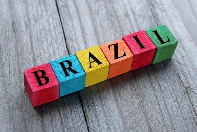 Naklejka word Brazil on colorful wooden cubes