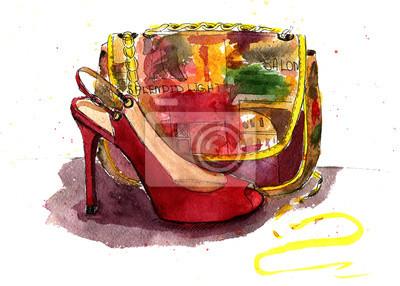 Worek Akwarela i buty. Moda szkic