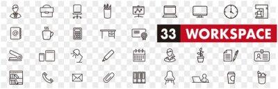 Naklejka working place icons of freelance line vector set