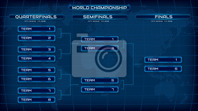 Naklejka World championship blue template background screen. Holographic map with schedule. Championship bracket design concept. Eps10 vector