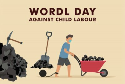 Naklejka World day against child labor vector concept. Boy in face mask working to mine rocks with tied feet