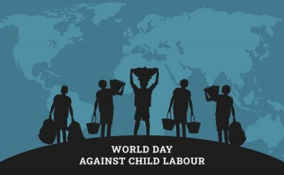 Naklejka World day against child labour background with children as a worker. Flat style vector illustration concept of stop child exploitation campaign for poster and banner.