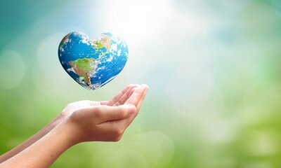 Naklejka World environment day concept: man opens palms and drags heart shaped earth globe over blurred blue sky and water background. Elements of this image furnished by NASA