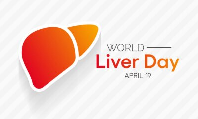 Naklejka World Liver day is observed each year on April 19th across the globe. aims to raise global awareness of hepatitis a group of infectious diseases known as Hepatitis  A, B, C, D, and E. Vector art.