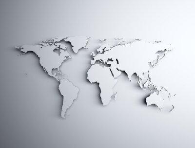 Naklejka World map 3D