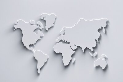 Naklejka World map 3d in white colors with shadows and glowing edges. 3d illustration.