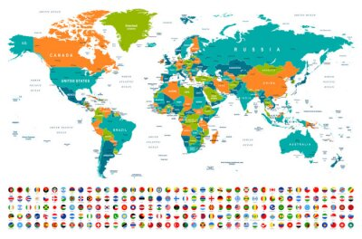 Naklejka World Map and Flags - borders, countries and cities -illustration
